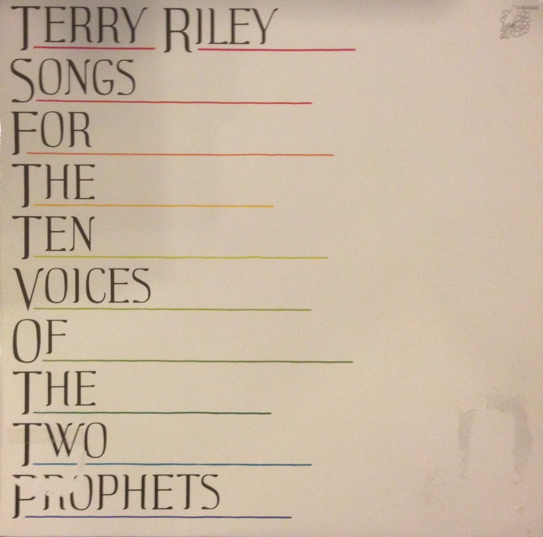 TERRY RILEY / SONGS FOR THE TEN VOICES OF THE TWO PROPHETS